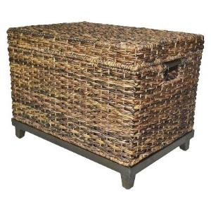 brown-wicker-storage-chest-trunk-coffee-table