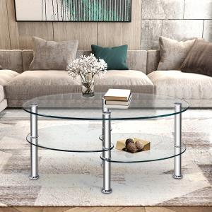 costway-tempered-oval-coffee-table-rustic
