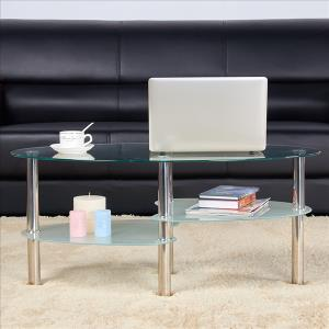 topeakmart-oval-cheap-round-glass-coffee-table
